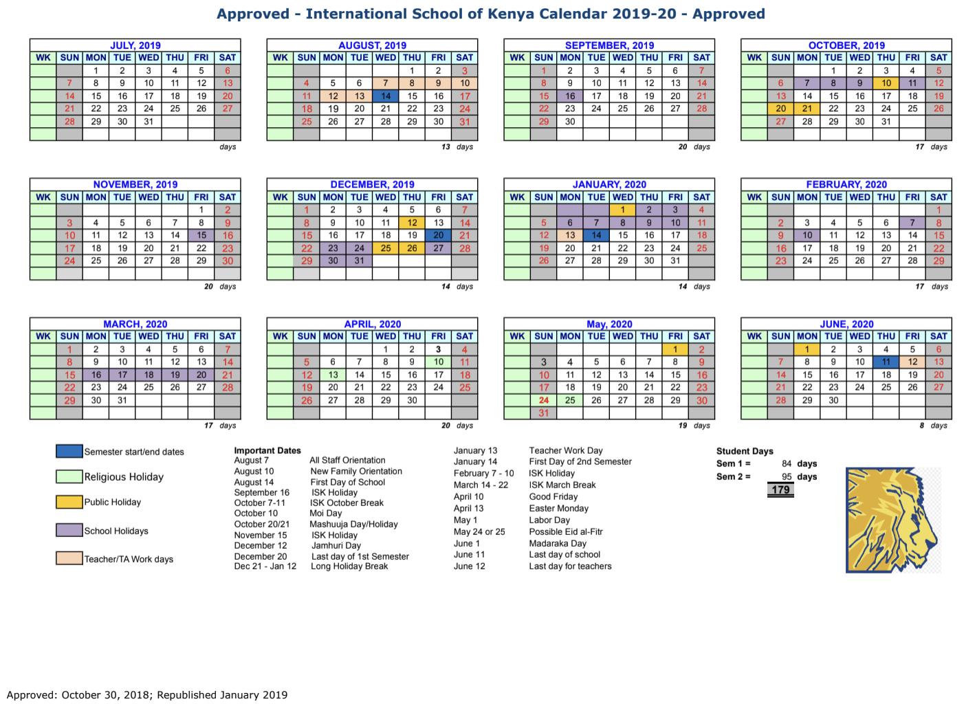Social Security Payment Calendar 2020.School Calendar International School Of Kenya