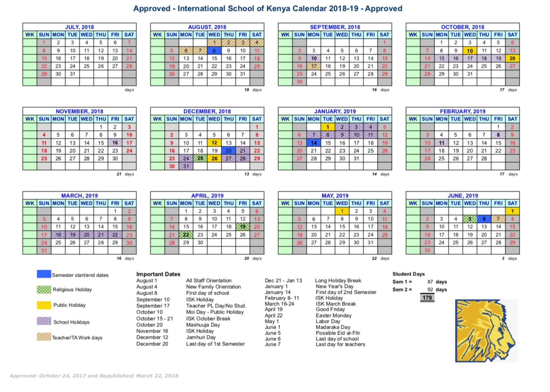School Calendar International School Of Kenya